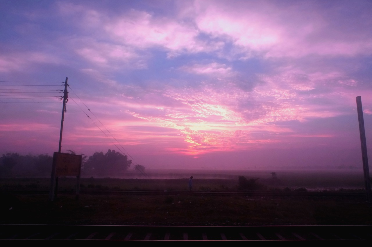 Dawn from the Darjeeling Mail train from Kolkata to Siliguri