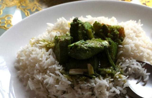 Neon green chicken in my Thai curry