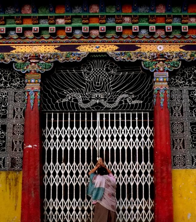woman temple pray crop